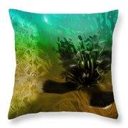 Mystic Poppy Yellow Green  Throw Pillow