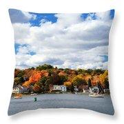 Mystic River In Autumn Throw Pillow