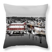 Mystic Seaport In Winter Throw Pillow