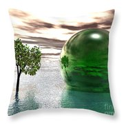 Mystic Surreal In Green Throw Pillow