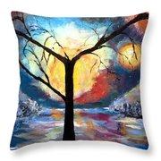 Mystical Twilight Forest Throw Pillow