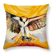 Mythical Eagle Perching Oil Painting Throw Pillow