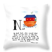 N Is For Noah Throw Pillow