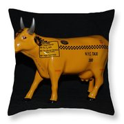 N Y C  Taxi Cow Throw Pillow