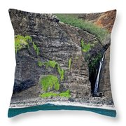 Na Pali Waterfall Throw Pillow