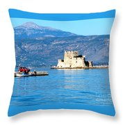 Naflion Greece Harbor Fortress Throw Pillow
