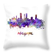 Nagoya Skyline In Watercolor Throw Pillow
