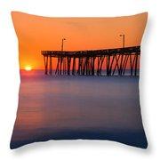 Nags Head Fishing Pier Sunrise Panorama Throw Pillow