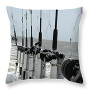 Nags Head Nc Fishing Poles Throw Pillow