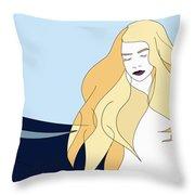 Naiades - Goddess Of The Seas- Beautiful Woman Portrait Minimalist Drawing Throw Pillow
