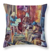 Nairobi Woodcarvers Throw Pillow
