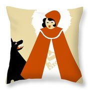 Naive Art Deco Little Red Riding Hood Throw Pillow
