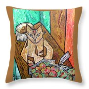 Naive Cat With Apples Throw Pillow