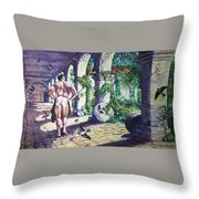 Naked In The Cloisters Throw Pillow