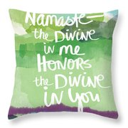 Namaste- Watercolor Card Throw Pillow
