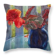 Nancy's Begonias Throw Pillow