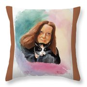Nandi And Her Cat Throw Pillow