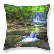 Nant Mill Waterfall Throw Pillow