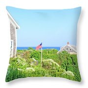 Nantucket Cottages Overlooking The Sea Throw Pillow