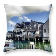 Nantucket Harbor In Summer Throw Pillow