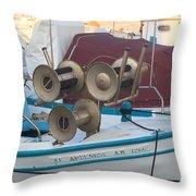 Naoussa Boat Paros Island Greece  Throw Pillow