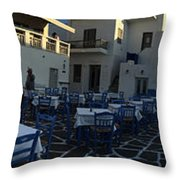 Naoussa Village Paros Greece Throw Pillow