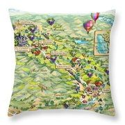 Napa Valley Illustrated Map Throw Pillow
