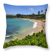 Napili Bay With Visitors Throw Pillow
