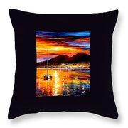 Naples - Sunset Above Vesuvius Throw Pillow