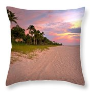 Naples Beach At Sunset, Florida Throw Pillow