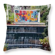 Naples Botanical Waterfall - Refreshing Garden Throw Pillow