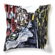 Naples City Street Throw Pillow by Clyde J Kell