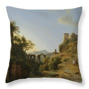 Naples Gulf With The Backdrop Of The Island Of Ischia  Throw Pillow