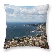 Naples Italy Aerial Perspective - Coastal Beauty Of Mergellina, Posillipo And Marechiaro Throw Pillow