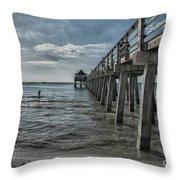 Naples Pier And Beach Fun Throw Pillow