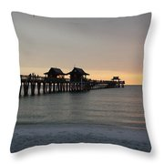 Naples Pier - Golden Hour At The Pier Throw Pillow