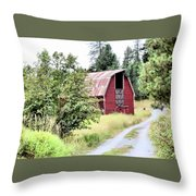 Naples Red Barn  Throw Pillow