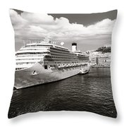 Naples Vintage Old Card Throw Pillow by Stefano Senise