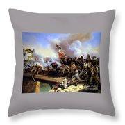 Napoleon Bonaparte Leading His Troops Over The Bridge Throw Pillow