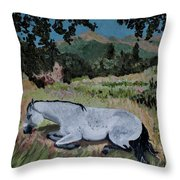 Napping Horse Throw Pillow