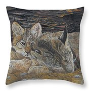 Naptime - Canadian Lynx Throw Pillow