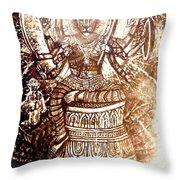 Illuminated Narasimha Dev In Sepia Throw Pillow
