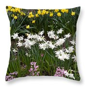 Narcissus And Daffodils In A Spring Flowerbed Throw Pillow