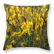 Narcissus And Grasses Throw Pillow