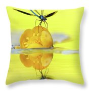 Narcissus - Damselfly Reflected In The River Throw Pillow