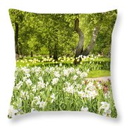 Narcissus In Apple Garden Throw Pillow