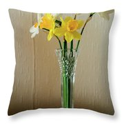 Narcissus In Glass Vase Throw Pillow