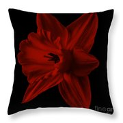 Narcissus Red Flower Square Throw Pillow