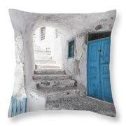 Narrow Alley And Stairway On Santorini Throw Pillow