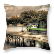 Narrow Boat And Jetty Throw Pillow